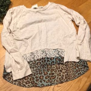 Girls leopard print and lace long sleeve